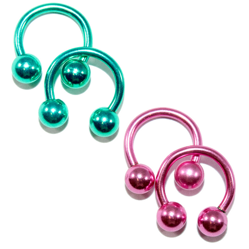 Anodized Titanium 14ga Horseshoe Circular Barbells Pink/Green 2Pairs