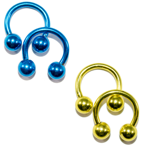 Anodized Titanium 14ga Horseshoe Circular Barbells Yellow/Blue 2 Pairs