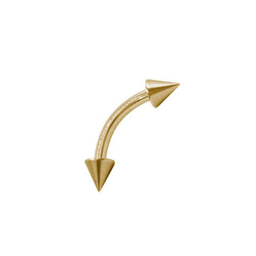 14k Gold Electro Plated Curved Eyebrow Ring with Spike Beads (16G)