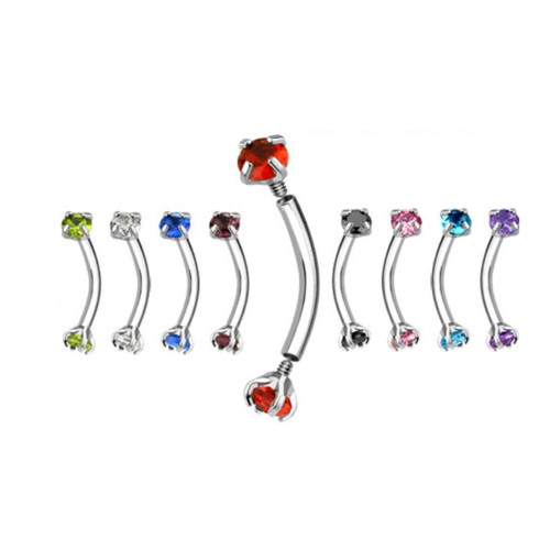 Internally Threaded 16ga Surgical Steel Eyebrow Ring with CZ Gem
