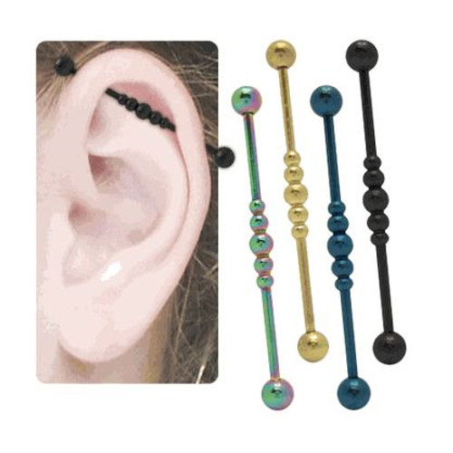 Industrial Titanium Barbell with Spheres 14g