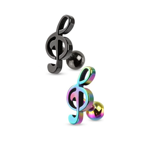 IP Treble Clef Music Note Tragus / Cartilage Piercing Stud Earring