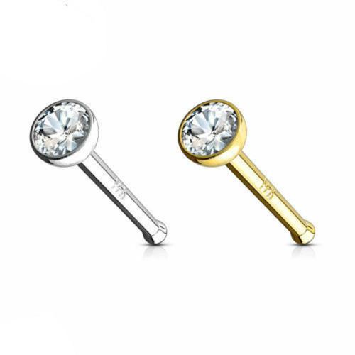 Nose Ring Solid Gold 14k White Yellow L Shaped lovely Unique Designs Handmade  1pc 1st set