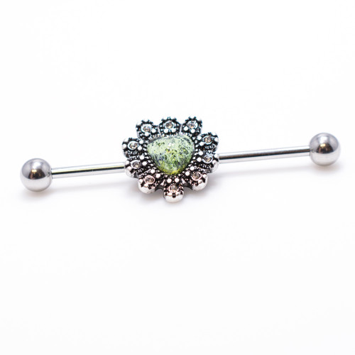 Heart Design 14ga Industrial Barbell with Burnished Silver Charm