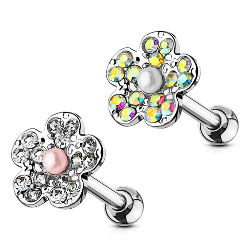 Flower Design 16ga Cartilage Piercing Barbell with CZ Gems