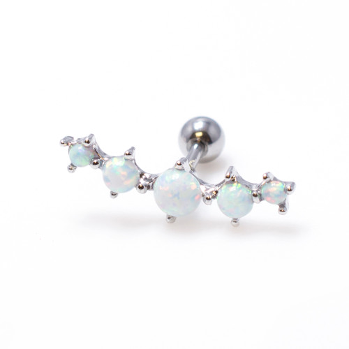 Tragus Cartilage 16ga Barbell with Five Opalite Ball