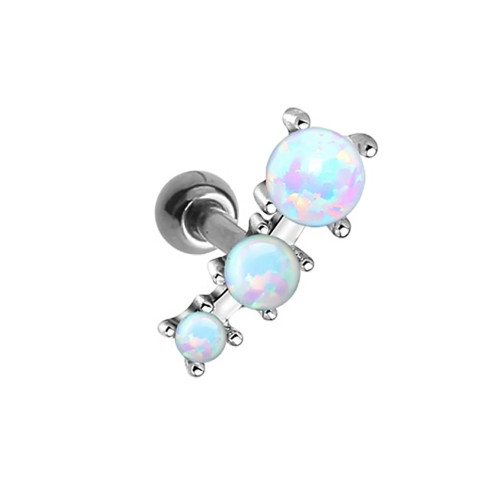 Cartilage 16ga Barbell with Three Opalite Gems