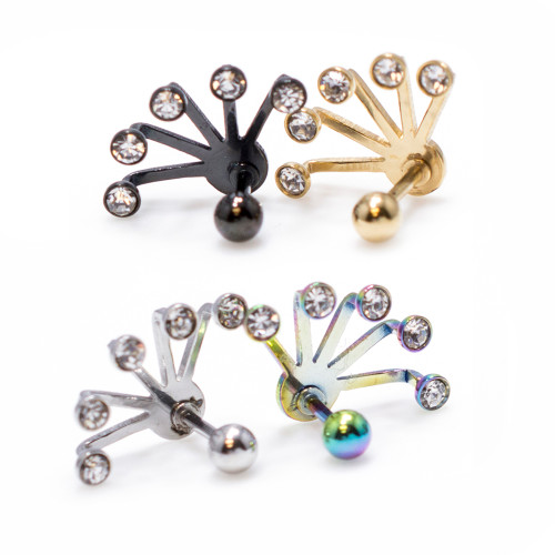 Cartilage/Tragus 16ga Barbell with Five Crystal Set Fan Hanging