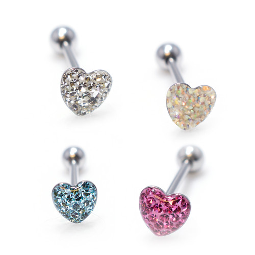 Jeweled Heart Barbell Tongue Ring Surgical Steel