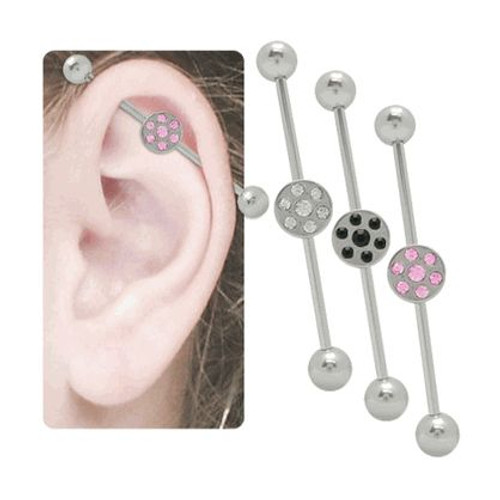 Jeweled Steel Industrial Barbell 14g
