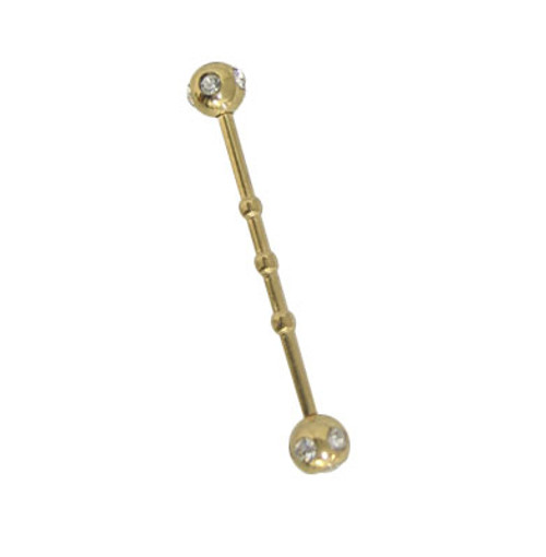 Gold Jeweled Anodized Titanium 14 gauge Industrial Barbell