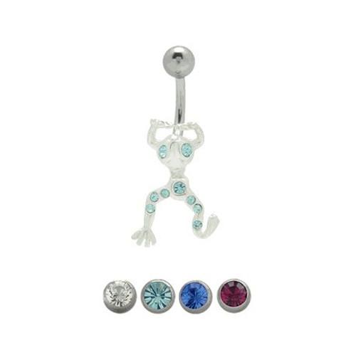 14 gauge Jeweled Frog Belly Barbell