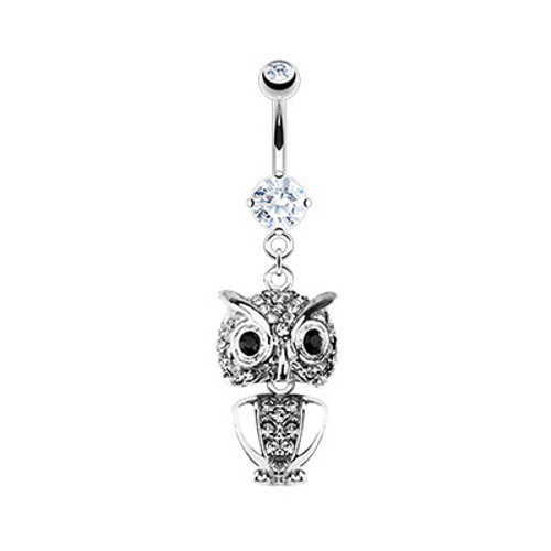 316L Surgical Steel Jeweled Owl 14 gauge Belly Button Ring