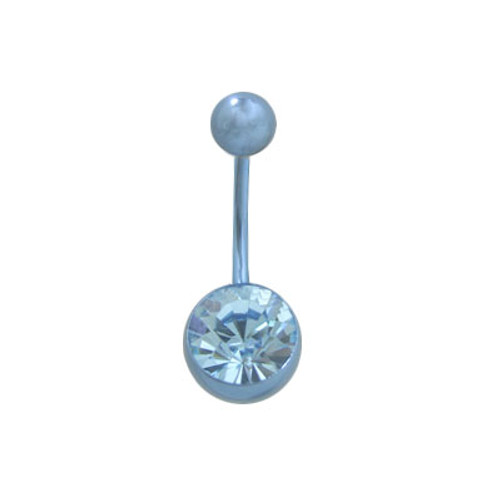 14 gauge Light Blue Titanium Belly Ring with Matching Jewel