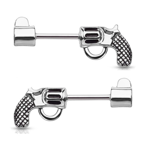 Nipple Barbells with a Pistol Design Surgical Steel 14 Gauge - Sold as a Pair