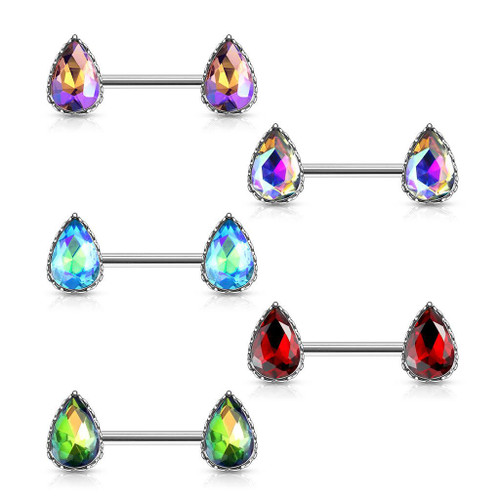 Pair of AB Effect Tear Drop Gem with Heart Filigree Encasing Nipple Barbells 14ga Surgical Steel