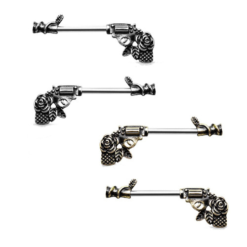Nipple Barbells with a Rose Pistol Design Surgical Steel 14 Gauge- Sold as a Pair