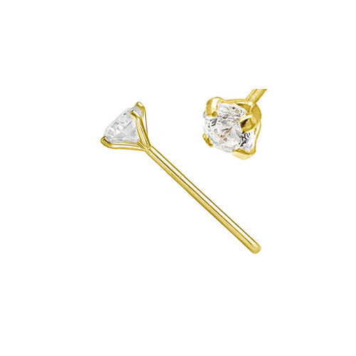 Nose Stud Prong Set Lab Diamond 14 Karat Solid Gold