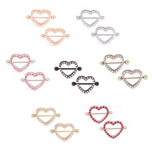 Pair of Paved Heart-Shaped 14ga Nipple Shield with CZ Gems and Free Barbell