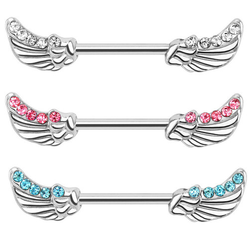 "14ga-1/2""(12mm) Angels Wings with CZ Gems 316L Surgical Steel Nipple Bar"