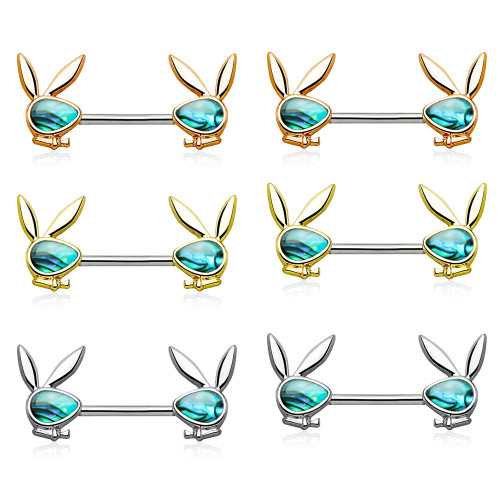 Nipple Ring Barbell with Abalone Inlaid Face Playboy Bunny Ends Surgical Steel - Out of Stock