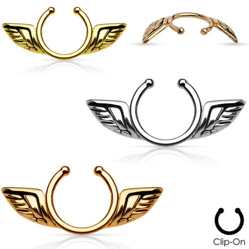 Pair of Non-Piercing Nipple Clip - Angel Wings Design