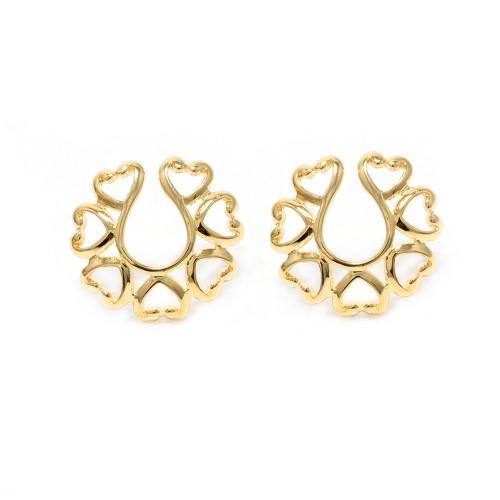 Pair of Vintage Hearts 14Kt Gold Plated Clip-On Nipple Rings