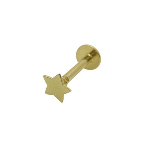 14K Solid Gold Star Labret/Monroe