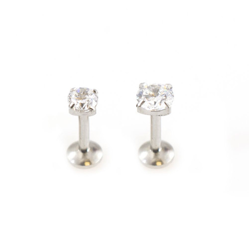 Push In Labret Threadless with Prong Setting Cubic Zirconia 16G 1/4- 6mm - Sold Each