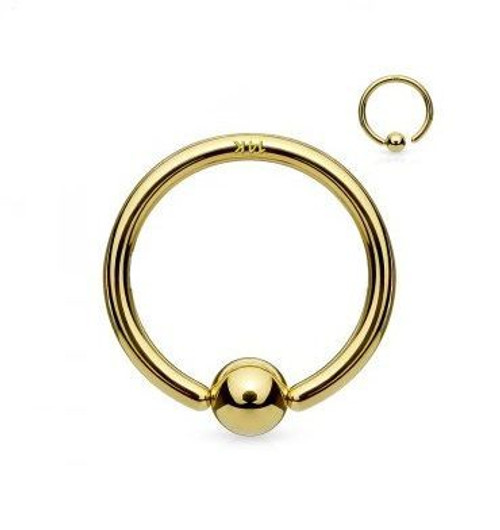 14Kt. Gold Fixed Ball Hoop Ring- Nose and Cartilage 20ga 18ga