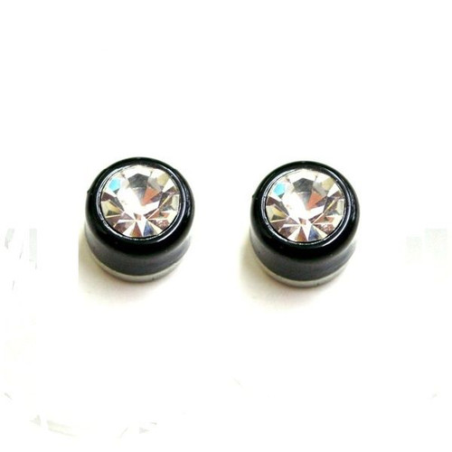 Pair of Black with Press Fit 4mm Clear Cubic Zirconia Magnetic Earrings
