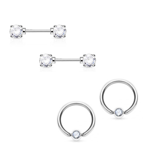 Nipple Ring 14G Barbell/Captive Combo Surgical Steel with Clear Round CZ Gems