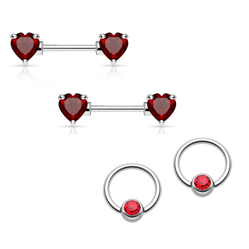 Nipple Ring 14G Barbell/Captive Combo Surgical Steel with Red Heart CZ Gems