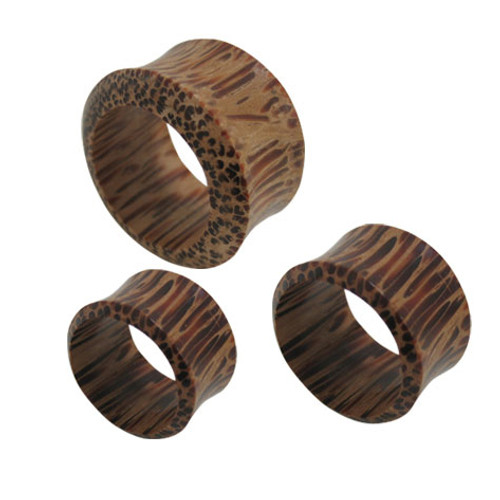 Pair of (14mm up to 25mm) Large Gauge Wood Ear Plug Double Flare Tunnel Design