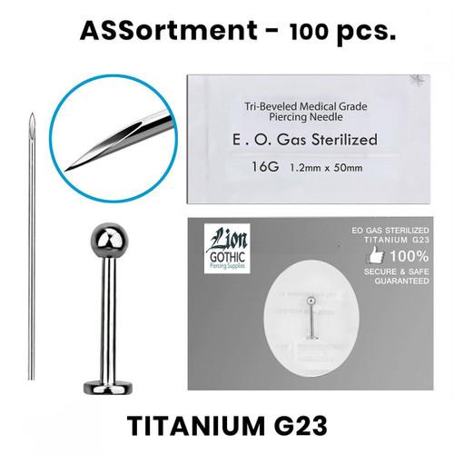 Labrets Lip Ring Piercing Kit containing 100 pcs of Titanium G23 16 Gauge 14 Gauge