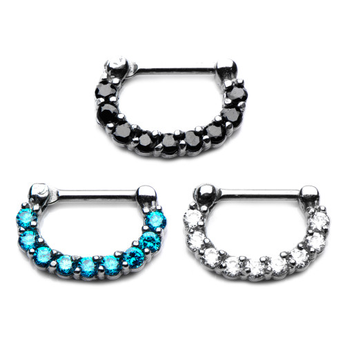 Prong Set Jewel clicker Septum Ring 14 gauge and 16 gauge