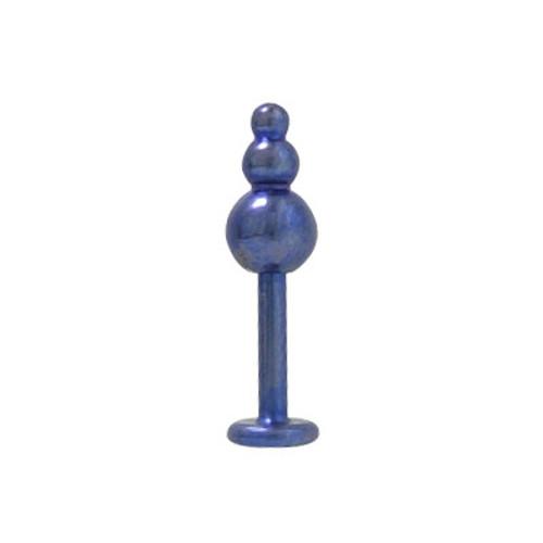 Blue Solid Titanium Monroe Triple Ball (14G)