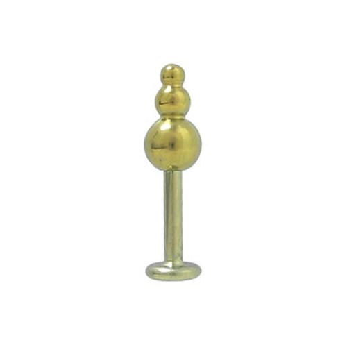 14 gauge Gold Color Anodized Titanium Labret Tri-Ball Design Lip Ring