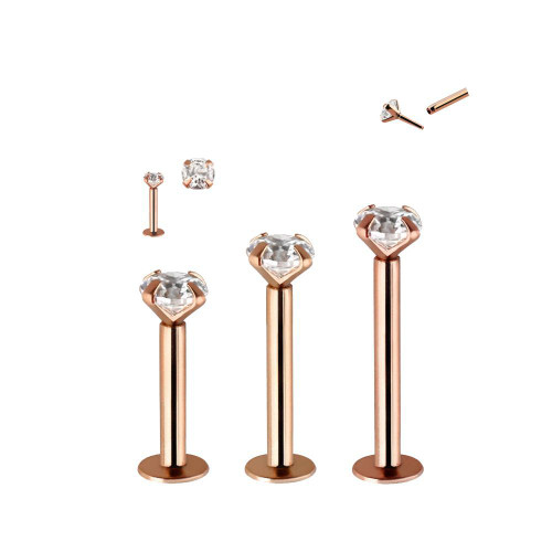 Labret ring 14 karat solid rose gold with push in ends and clear cubic zirconias Ear Lip and more