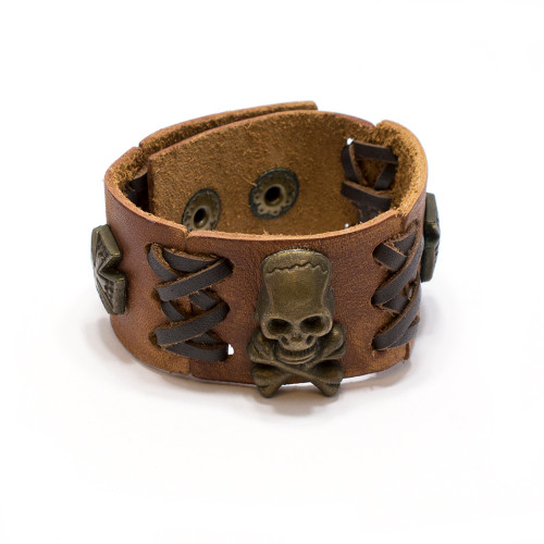 Skull Crossbones Brown Leather Bracelet