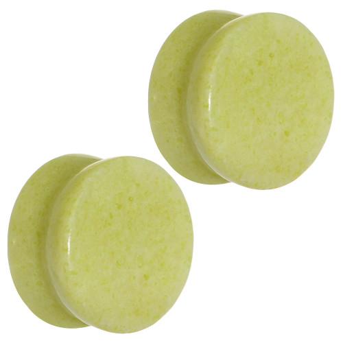 Solid Lemon Jade Semi-Precious Saddle-Fit Plugs (8 gauge to 1in)