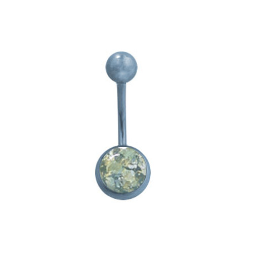 Light Blue Solid Titanium Belly Button Ring with Lava Stone 14ga