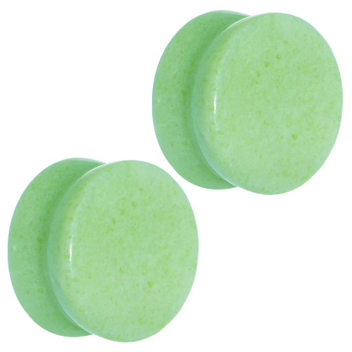 Large  Light Jade Semi-Precious Saddle-Fit Plugs (12mm to 25mm)  Sold in Pairs