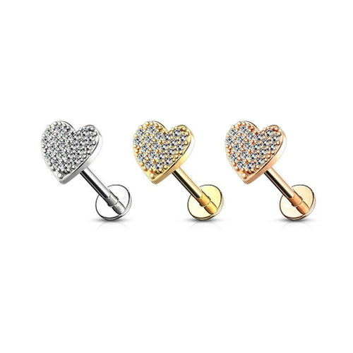 CZ Paved Heart Top Internally Threaded Flat Back Labret Surgical Steel 16ga