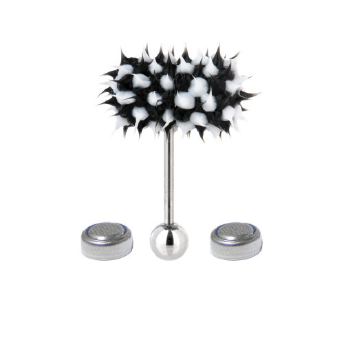 Lix Silicone Spikes Vibrator Tongue Ring Black and White 14G - Out of Stock