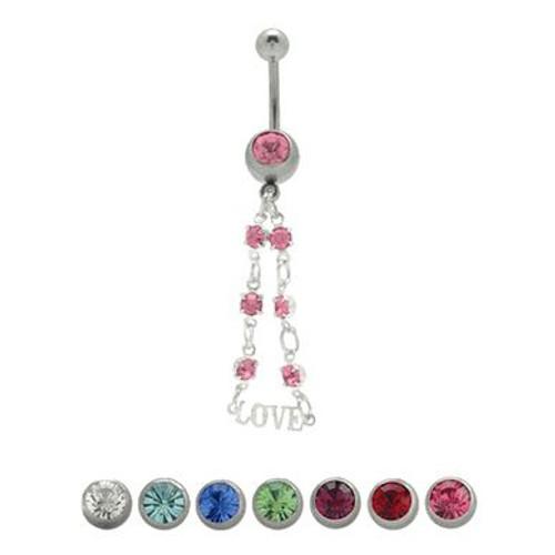 14 gauge Love Dangler Navel Ring