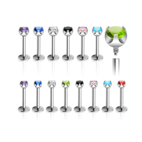 316L Surgical Steel One Piece Internally Threaded Prong Set CZ Monroe - 6 Colors to Choose From