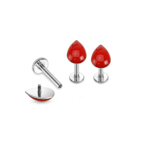 Blood Drop Internally Threaded  Labret 316L Surgical Steel 16ga- Sold Each