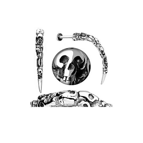 Skull Carved 14 Gauge Long Claw Labret