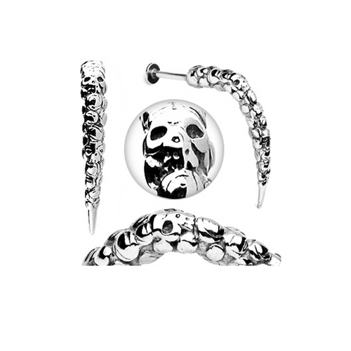 Artistic Skull Carved 14 Gauge Long Claw Labret